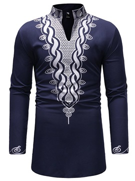 Dashiki Print African Fashion Stand Collar Men's Shirt
