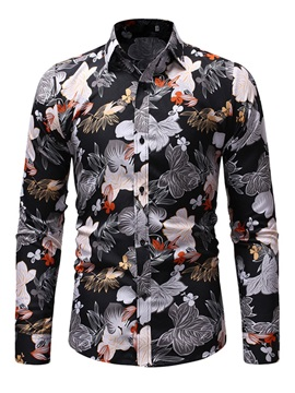 Floral Lapel Men's Casual Shirt