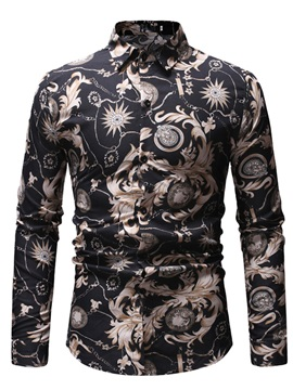 Lapel Floral Casual Print Men's Shirt