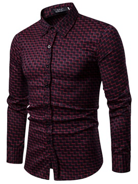 Unique Plaid Lapel Men's Fashion Shirt