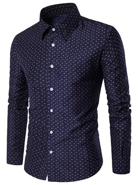 Simple Print Lapel Casual Men's Shirt