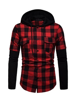 Hooded Color Block Plaid Men's Casual Shirt