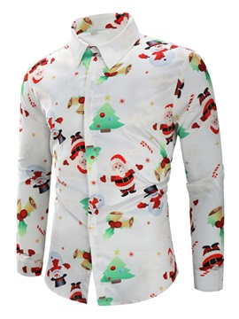 Cartoon Print Lapel Men's Shirt