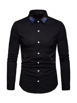 Embroidery Casual Lapel Single-Breasted Men's Shirt
