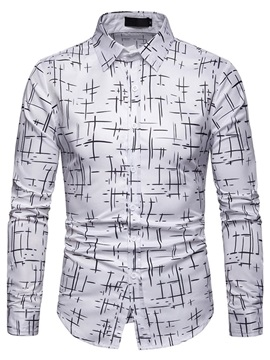 Lapel Casual Print Slim Fit Men's Shirt