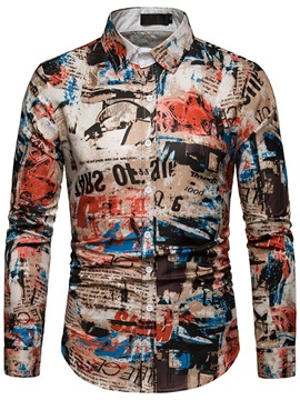 Unique Print Lapel Slim Men's Shirt