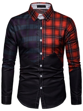Color Block Plaid Patchwork Lapel Men's Shirt