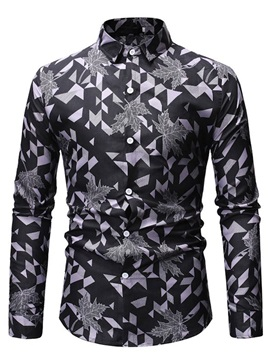Geometric Print Lapel Slim Men's Shirt