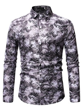 Lapel Floral Print Men's Shirt