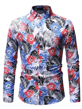 Colorful Floral Lapel Print Men's Shirt