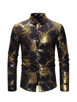 Unique Floral Print Lapel Slim Men's Shirt