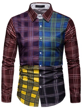 Lapel Color Block Plaid Patchwork Men's Shirt