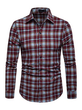 Color Block Plaid Lapel Casual Slim Men's Shirt