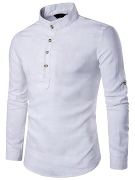 Stand Collar Plain Straight Men's Shirt