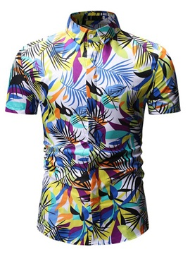 Lapel Colorful Summer Print Floral Men's Short Sleeve Shirt