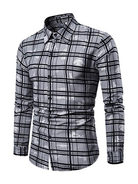 Color Block Plaid Casual Lapel Slim Men's Shirt