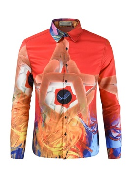 Color Block Special Print Lapel Men's Shirt