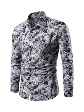 Casual Lapel Floral Men's Shirt