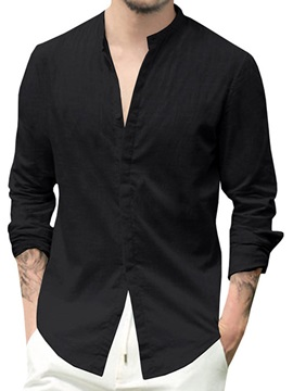 Black Stand Collar Casual Plain Single-Breasted Men's Shirt