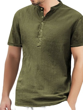 Plain Casual Stand Collar Loose Men's Shirt