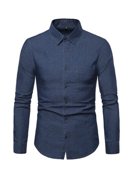 Casual Lapel Plain Simple Style Men's Shirt