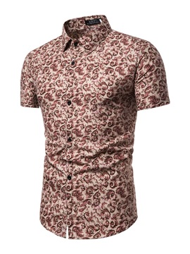 Unique Print Short Sleeve Lapel Men's Shirt