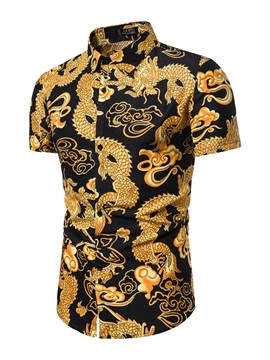 Color Block Dragon Print Lapel Summer Men's Shirt