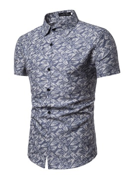Lapel Print Casual Short Sleeve Men's Shirt