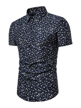 Lapel Simple Print Summer Men's Shirt