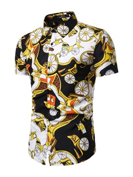 Color Block Catoon Print Summer Men's Shirt