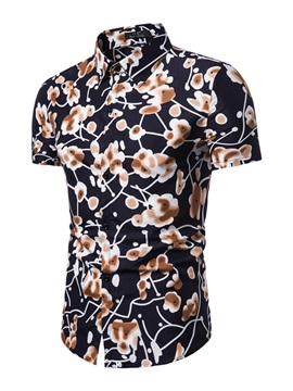 Unique Floral Print Lapel Short Sleeve Men's Shirt