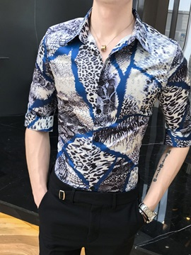 Leopard Lapel Single-Breasted Slim Men's Shirt