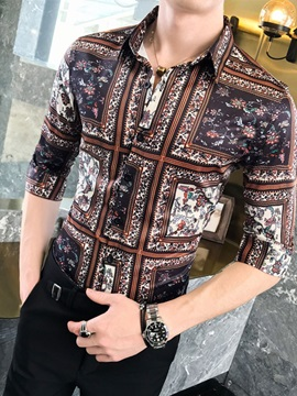 Vintage Print Lapel Slim Men's Shirt