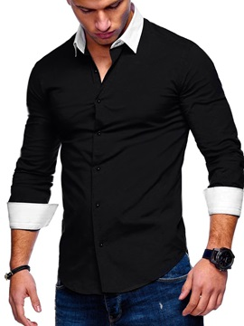 Color Block Lapel Button Casual Men's Shirt
