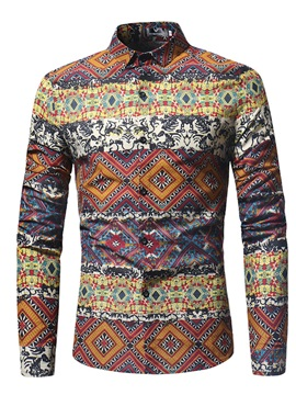 Vintage Ethnic Print Lapel Single-Breasted Men's Shirt