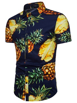 Pineapple Print Summer Short Sleeve Men's Shirt