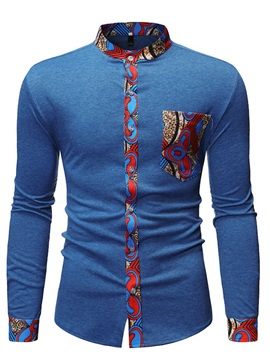 Color Block Patchwork Stand Collar Summer Men's Shirt
