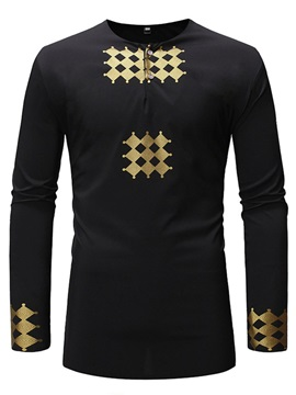 Dashiki Print Round Neck Button Men's Shirt