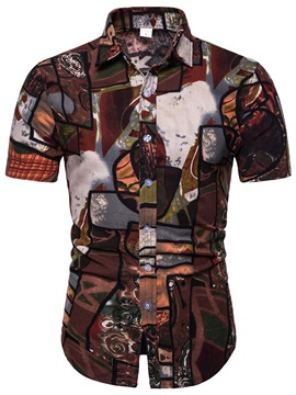 Color Block Patchwork Lapel Short Sleeve Men's Shirt