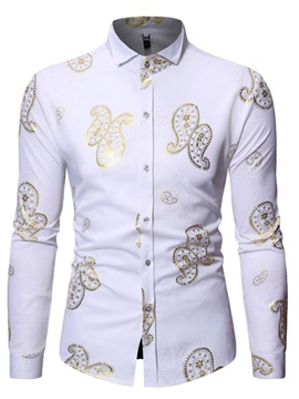 Lapel Casual Print Men's Shirt