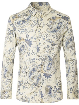 Lapel Floral Print Long Sleeve Men's Shirt