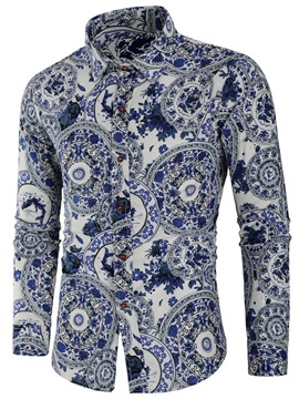 Floral Print Lapel Men's Shirt