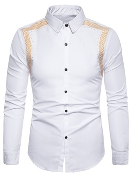 Color Block Simple Print Slim Men's Shirt