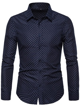 Lapel Polka Dots Button Casual Men's Shirt
