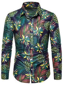Fashion Plant Color Block Print Lapel Men's Shirt