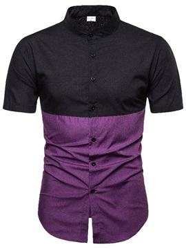 Color Block Patchwork Short Sleeve Men's Shirt