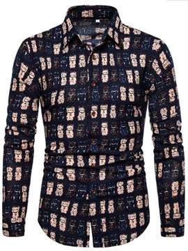 Fashion Cartoon Animal Print Lapel Men's Shirt