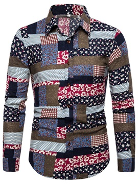 Color Block Ethnic Patchwork Button Men's Shirt