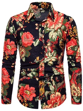 Color Block Floral Print Slim Men's Shirt