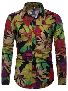 Color Block Floral Lapel Button Men's Shirt